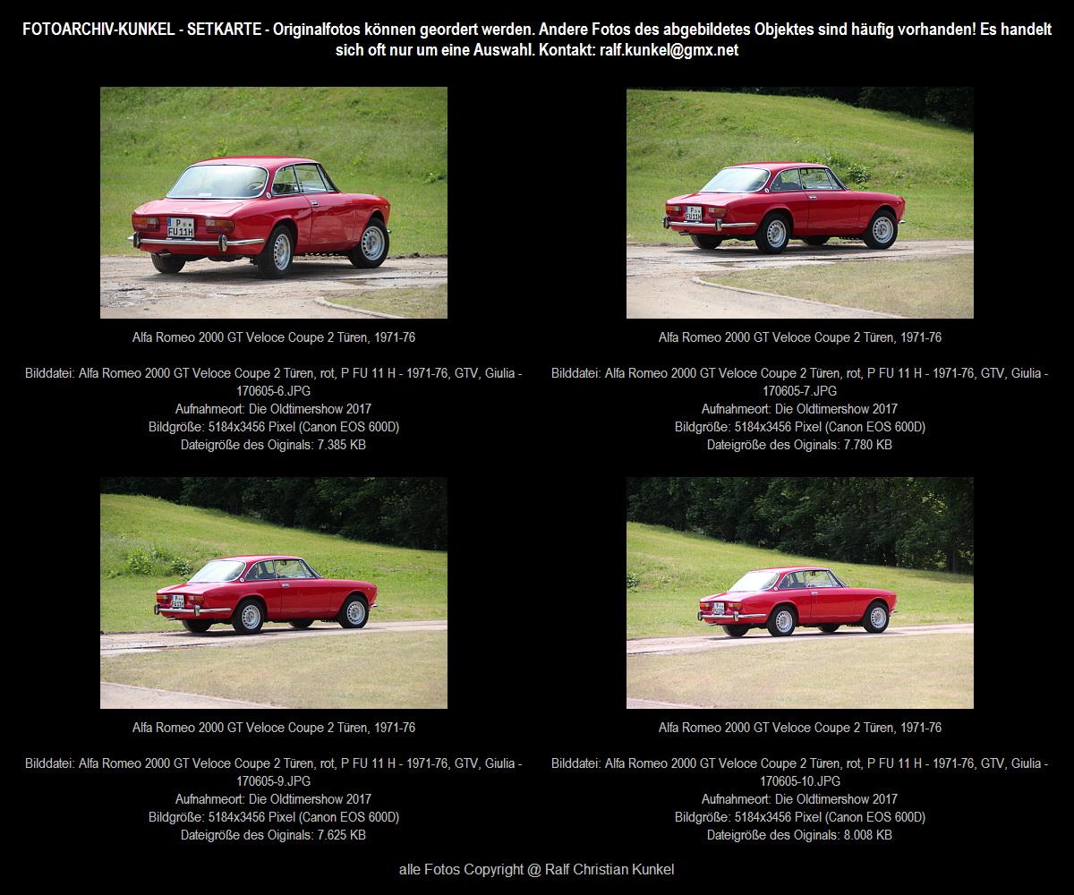 Alfa Romeo 2000 GT Veloce Coupe 2 Türen, Rot, Bauzeit 1971